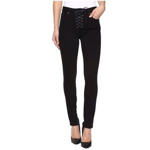 PAIGE Hoxton Lace-Up Ankle Peg Jeans Dark Vintage